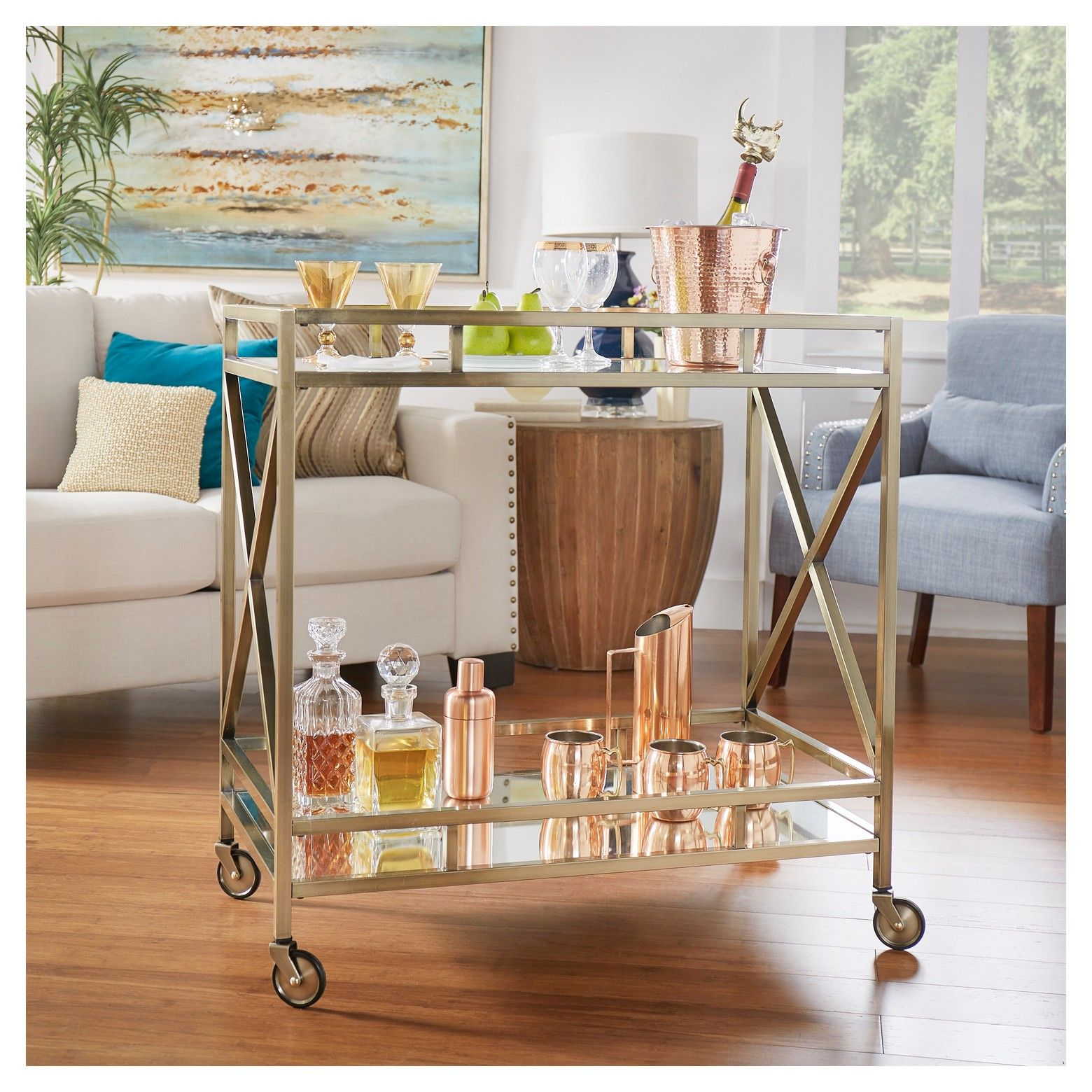 Eloise Metal + Glass Bar Cart - Antique Brass - Inspire Q