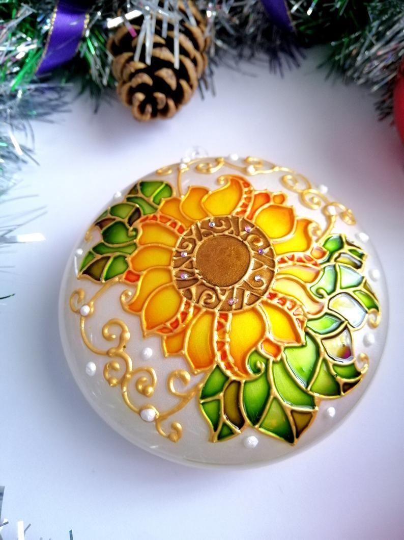 Sunflower christmas ornament handmade Rustic christmas