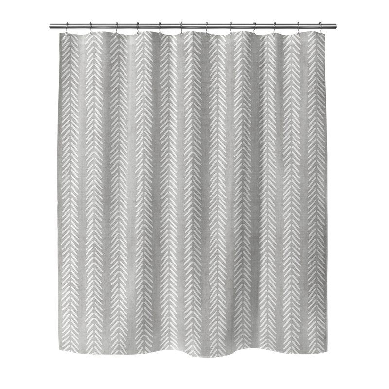 Adeline Chevron Single Shower Curtain Shower Curtain Cool