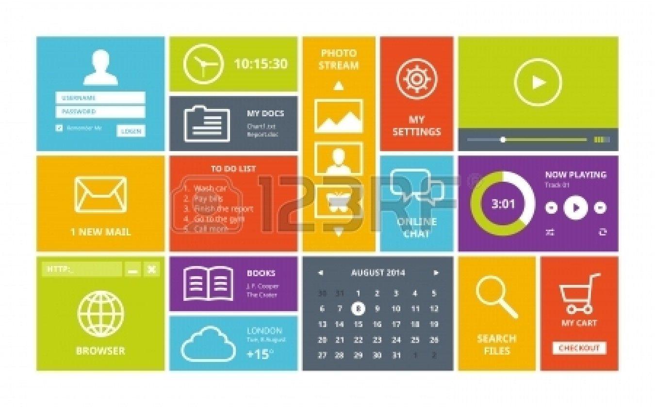 Moderne bunte Benutzeroberfläche Vektor-Layout in flaches Design mit ...