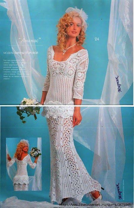 Vestido de novia tejido con ganchillo - con patrones y diagramas ...