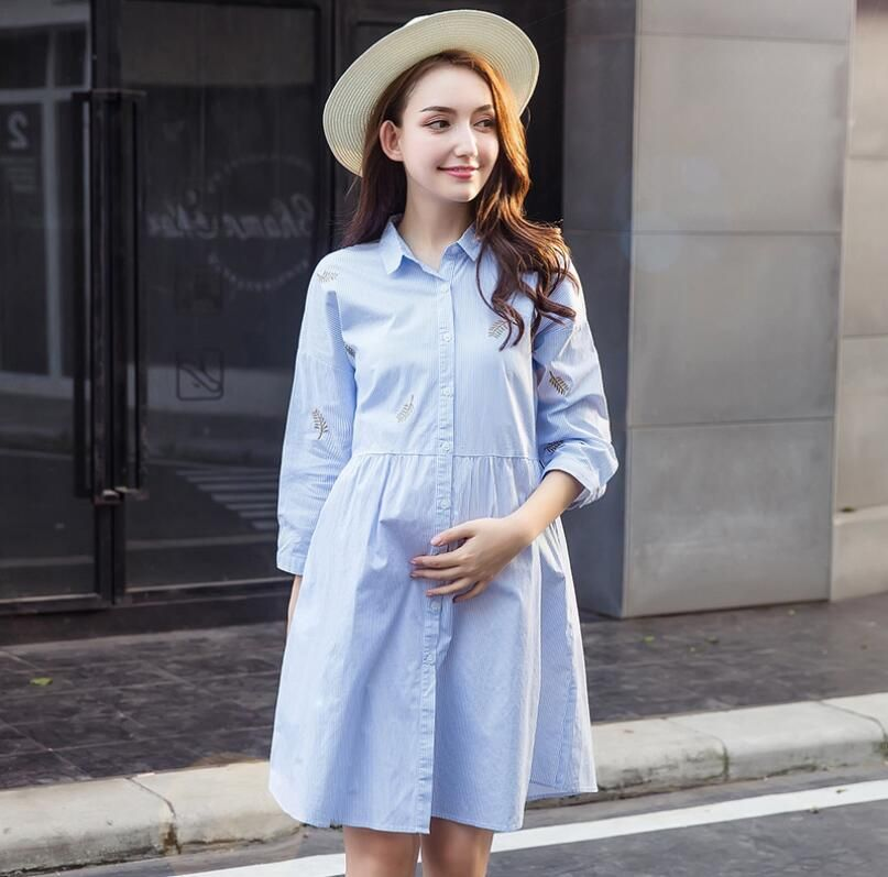 2018 Spring summer Maternity embroidery Clothing Cotton Maternity Dresses  Clothes for Pregnant Women Casual Pregnant Dress eaba2581cad5
