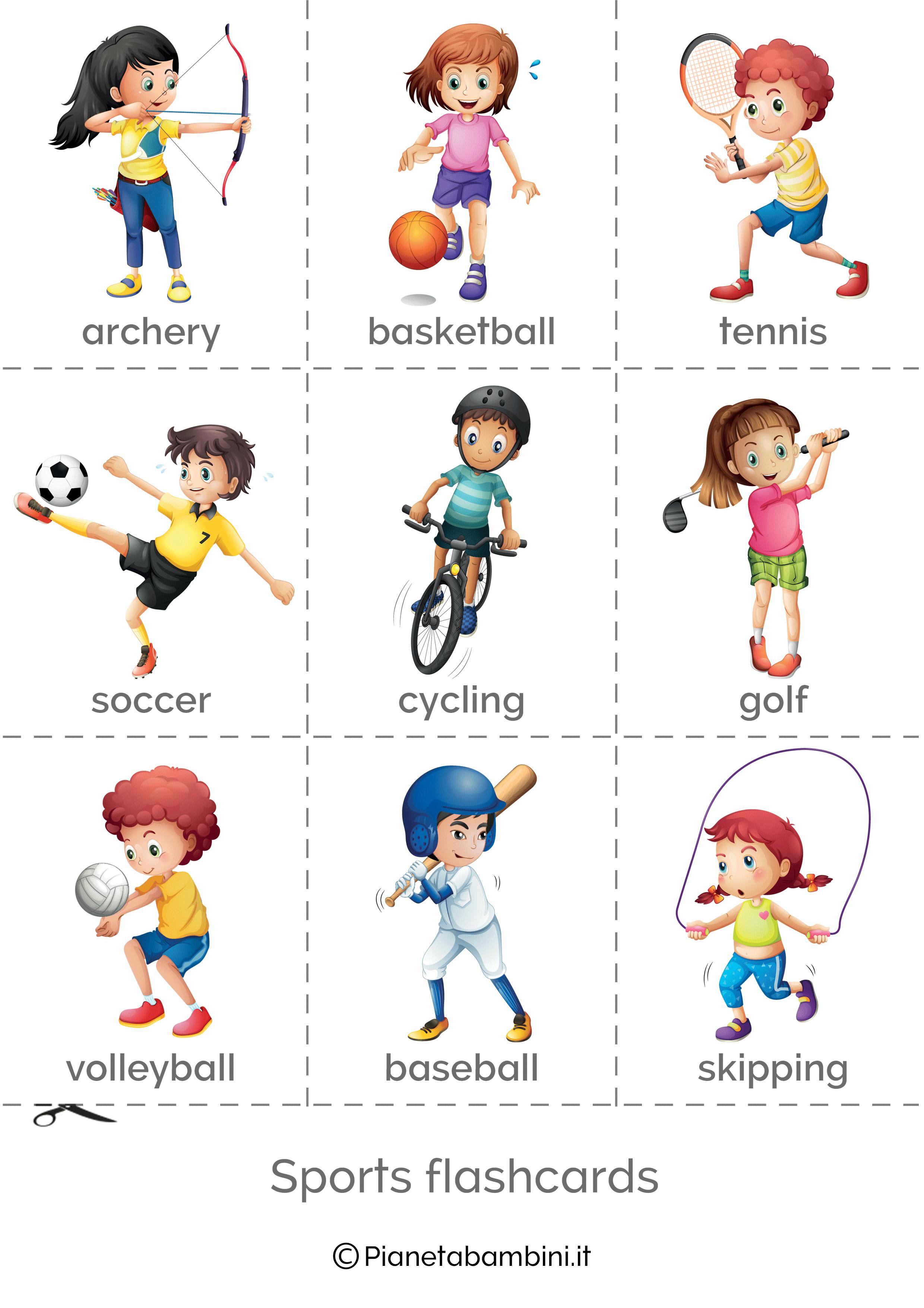 Sport In Inglese Esercizi Per La Scuola Primaria Flashcard Sport Scuola