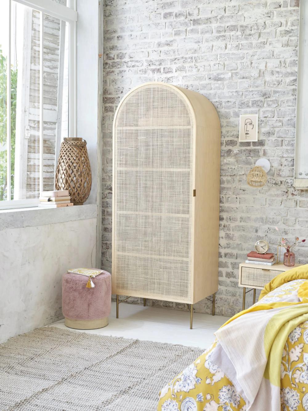 Armoire 1 Porte Cannage En Rotin Solstice Maisons Du Monde Mobilier De Salon Meuble Maison Decoration Meuble