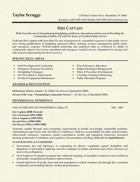 Fireman Captain Resume Examples Sample Resume Professional Resume Samples