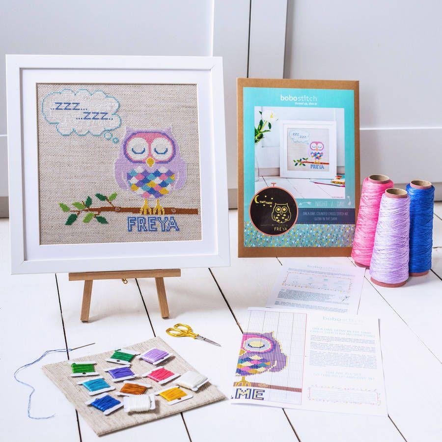 glow in the dark orla owl cross stitch kit by bobo stitch | notonthehighstreet.com