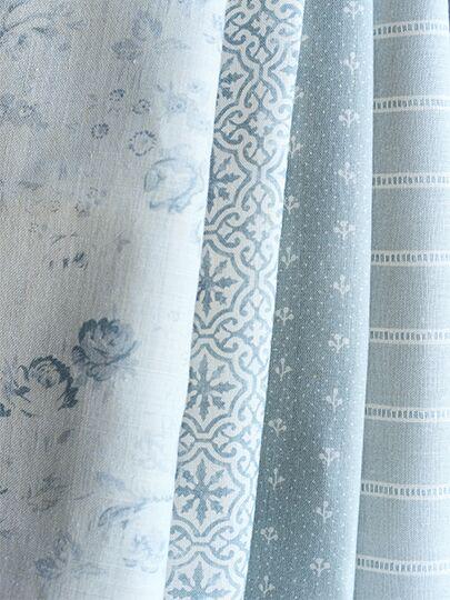 Lakshmi Bamburgh Blue On Ivory Linen Light Blue Curtains Blue