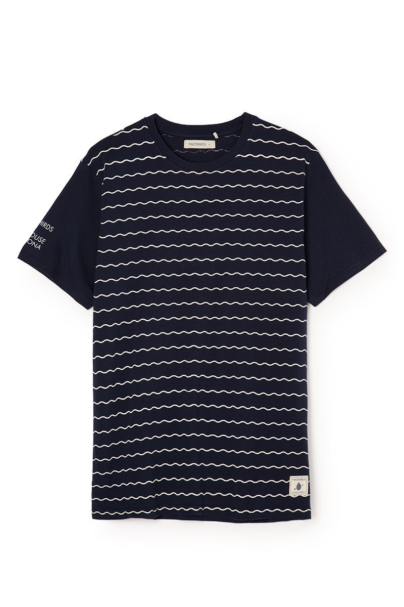 Wave allover print, 'TWOTHIRDS + Surfhouse Barcelona' sleeve print,  heritage label, single jersey, 100% Organic cotton, made in Portugal //  This TWOTHIRDS ...
