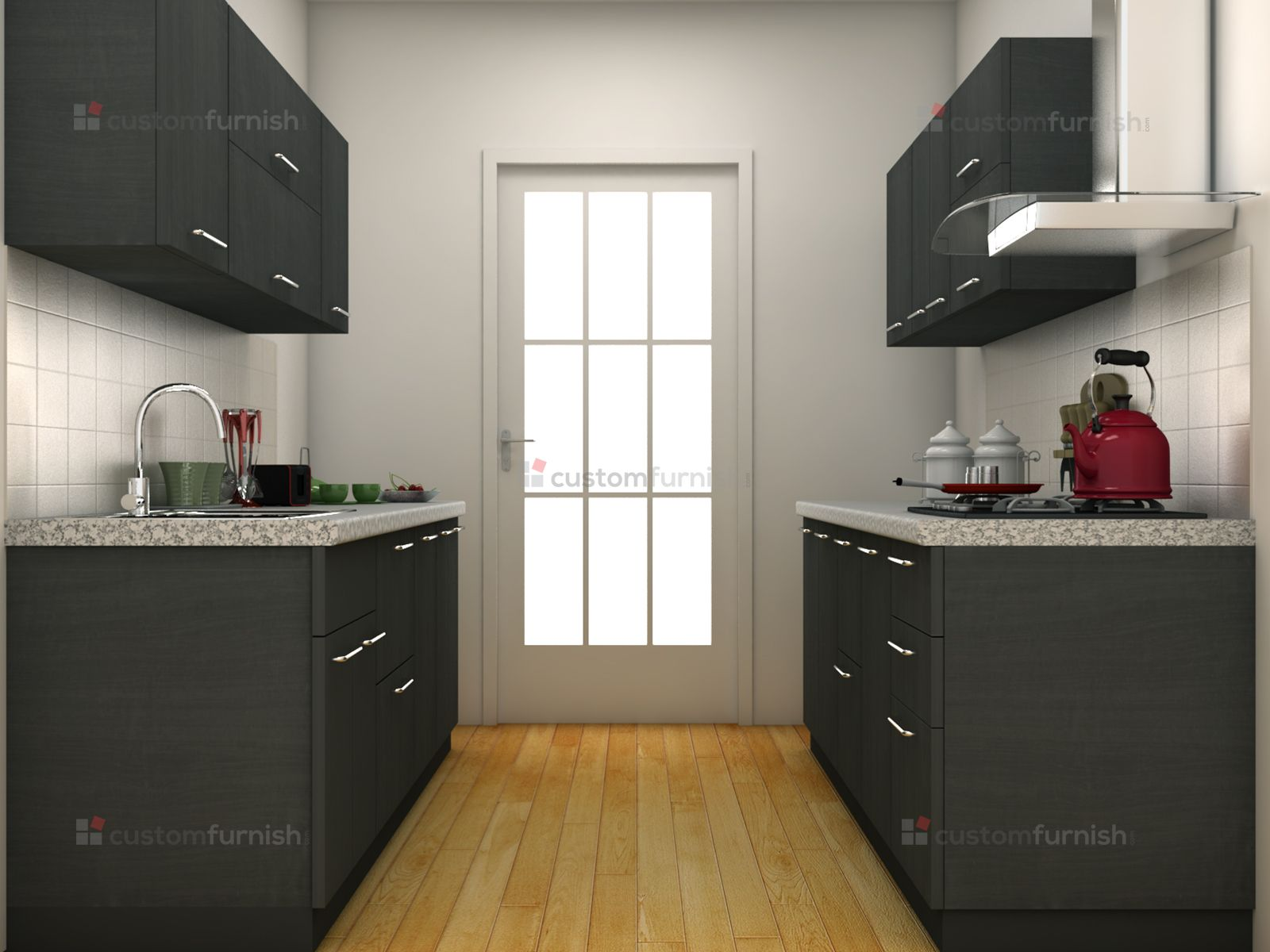 Grey Modular Kitchen Design Parallel Shaped Modular Kitchen