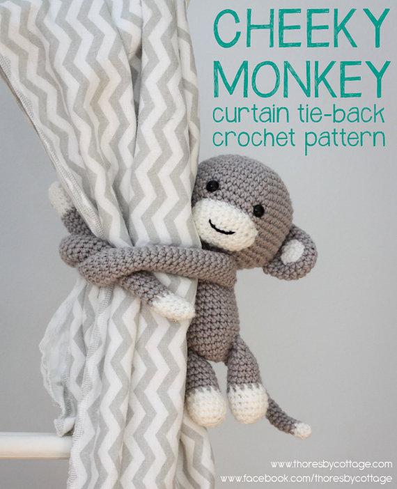 Crochet monkey curtain tie back pattern // left or right side ...