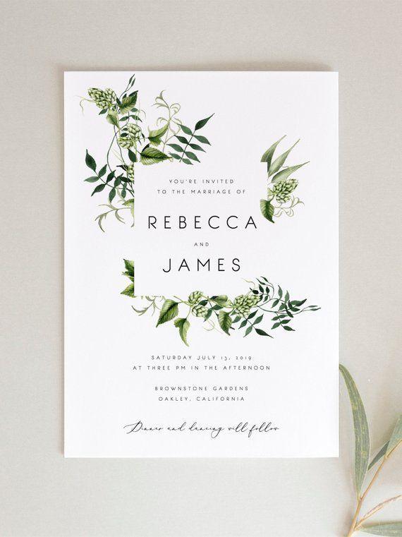 Grün-Hochzeitseinladungs-Schablone Farn-Blätter druckbare #softwaredesign