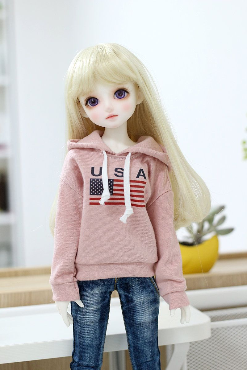 Msd doll clothes - Pink U.S.A Hoodie
