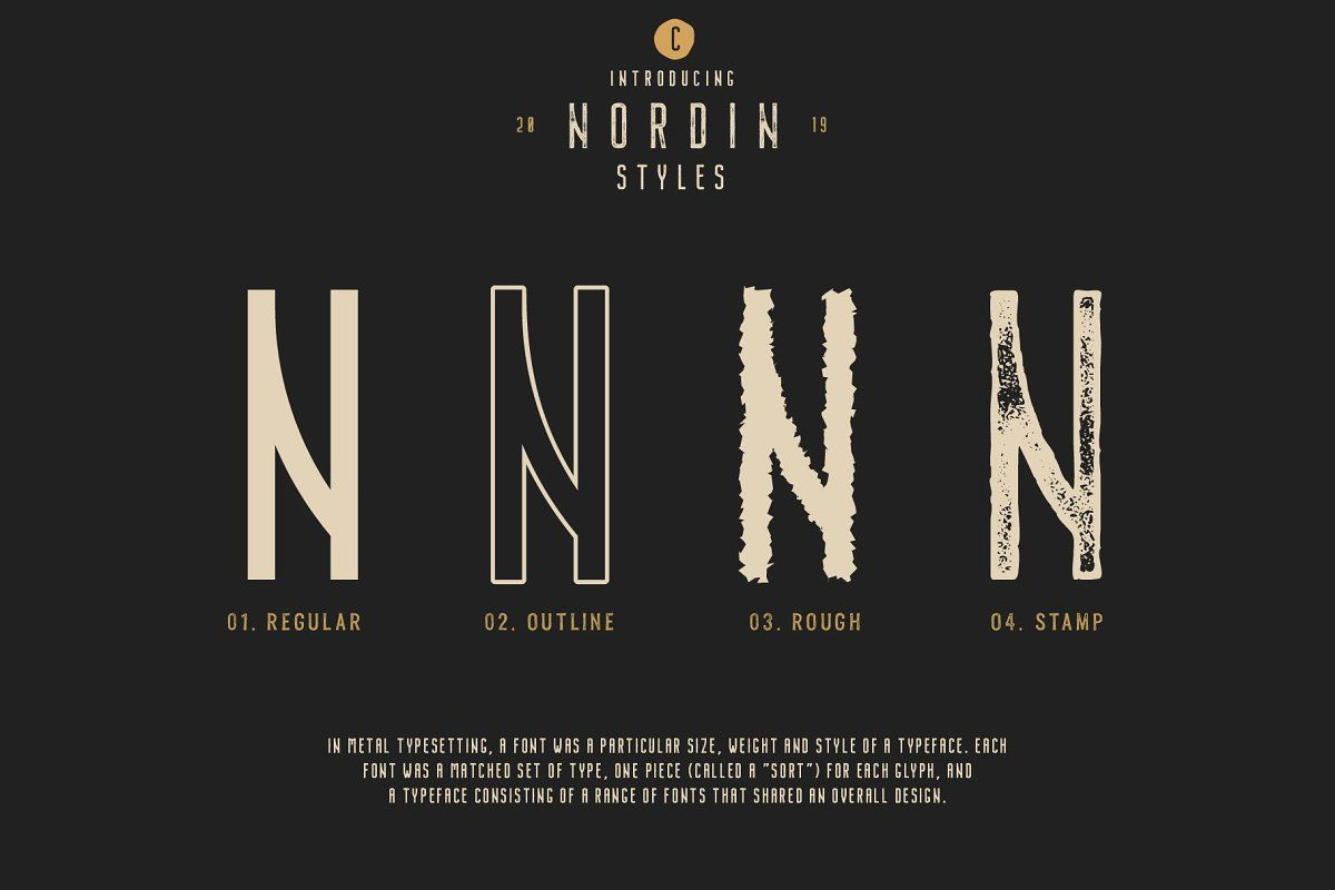 Nordin Vintage Font Family Extras