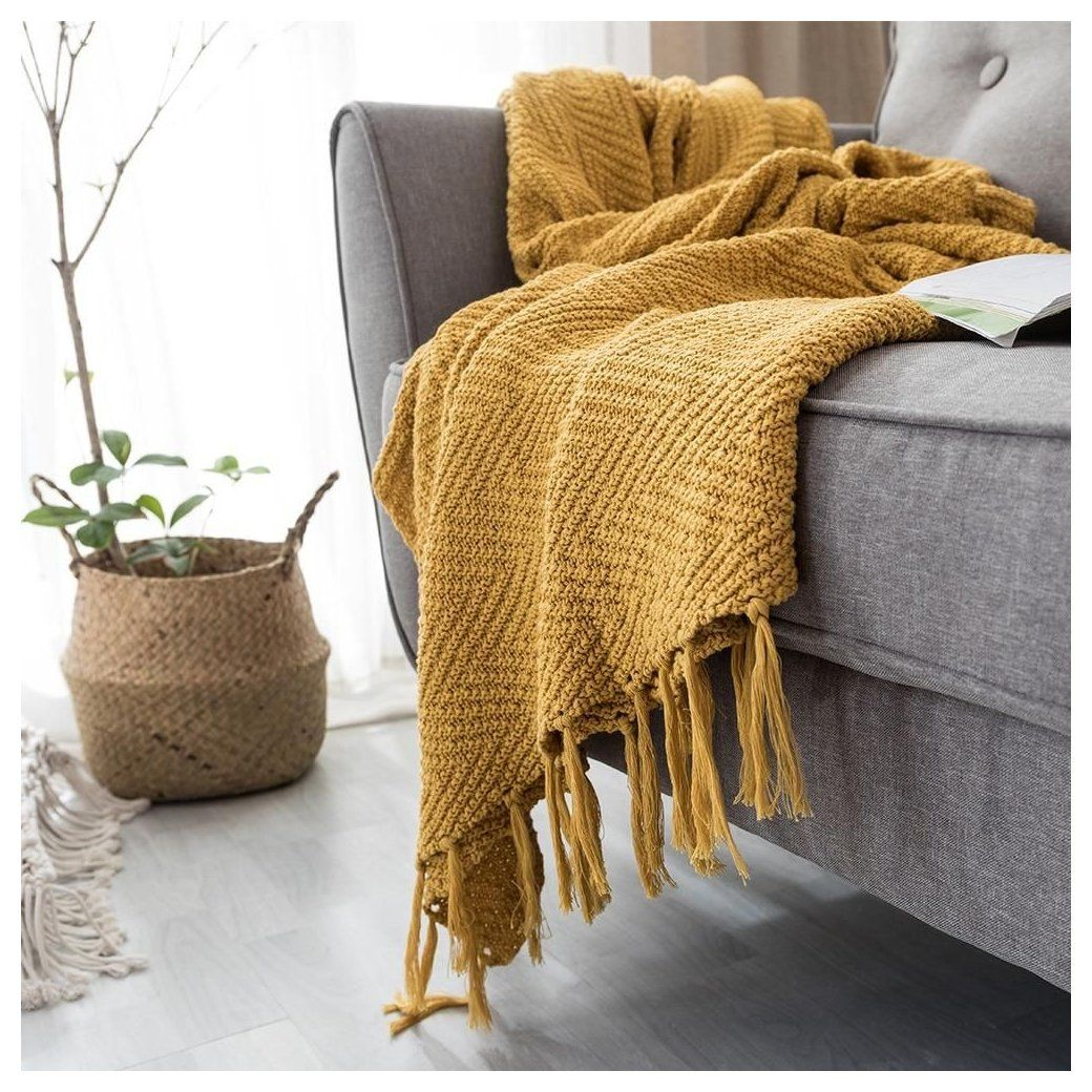 Mustard Yellow Knit Blanket Mustard Yellow Throw Blanket Knit From The Finest Materials The B In 2020 Yellow Throw Blanket Mustard Yellow Bedrooms Yellow Blankets