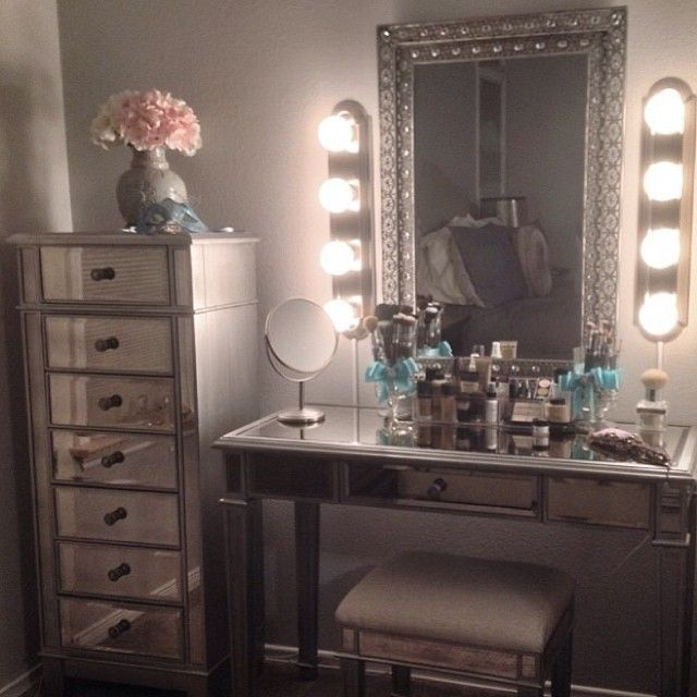 vanity set with mirror lights. Exactly The Type Of Vanity I Want  Mirror Lighting Mirrored Storage Dresser Next To Only A Pretty Stool What