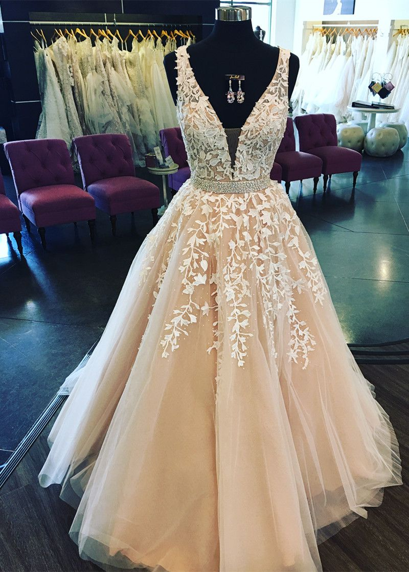 2018 prom dress, long prom dress, gorgeous white lace long prom dress formal evening dress