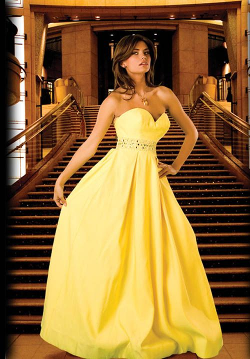 Pretty Yellow Ball Gown Satin Long Homecoming Dress with Beaded ...