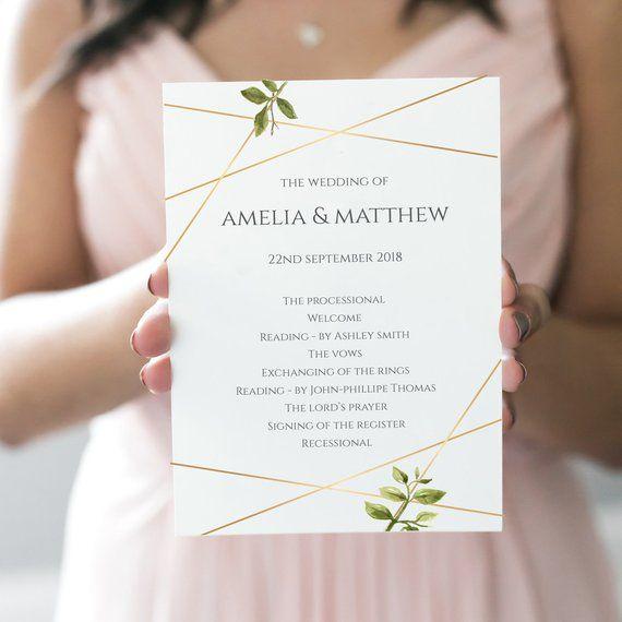 wedding program template printable wedding program 5 x7 editable