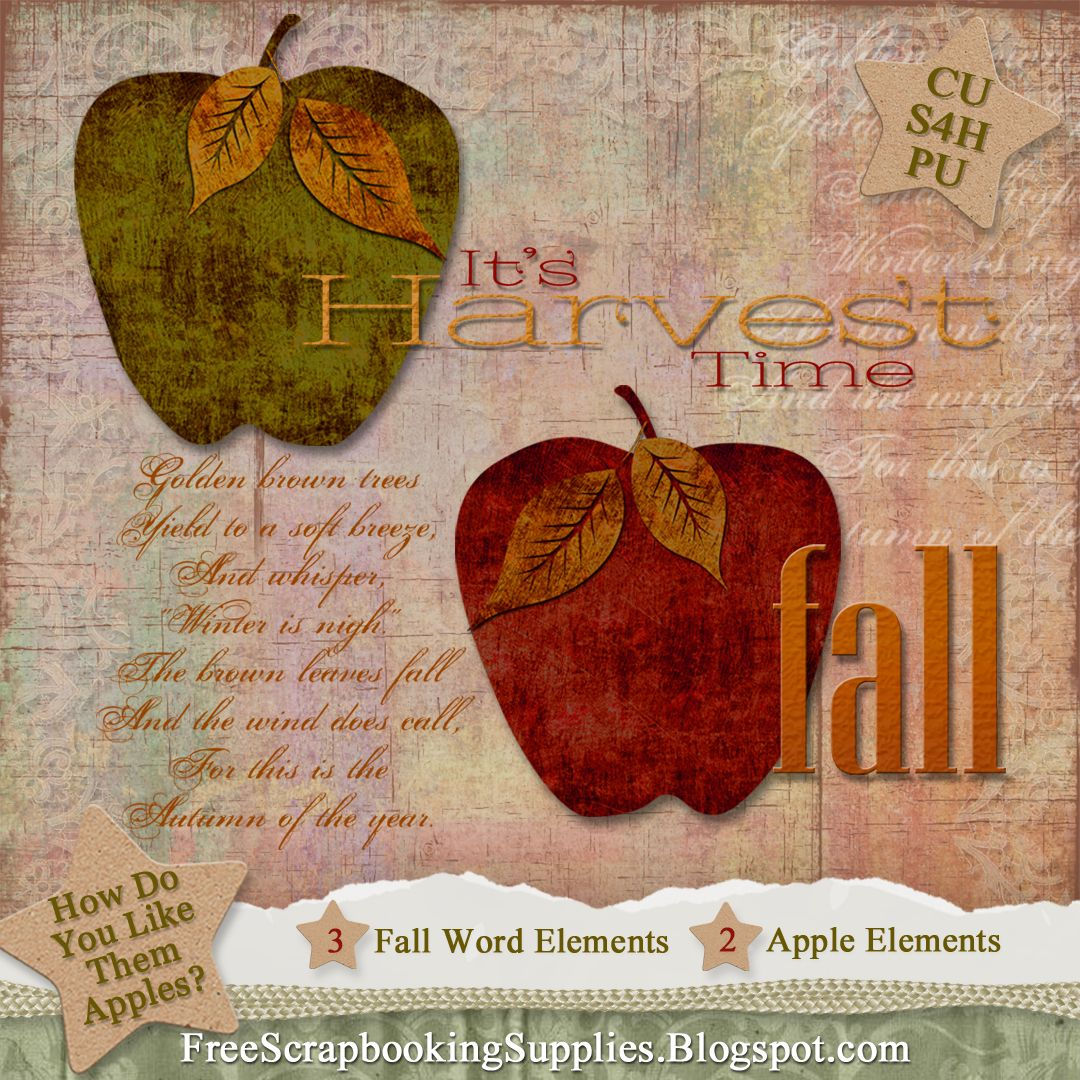 Free Fall Apples And Word Art Scrapbook Elements