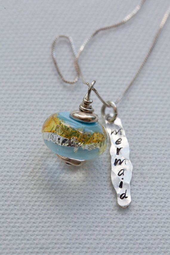 Hand Stamped Sterling with Handmade glass bead by CGlassStudio, $56.50