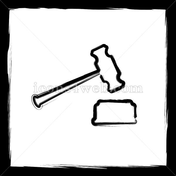 Judge hammer sketch icon Judge hammer sketch icon Judge hammer sketch button Outline design in high resolution and well suited for web or print use