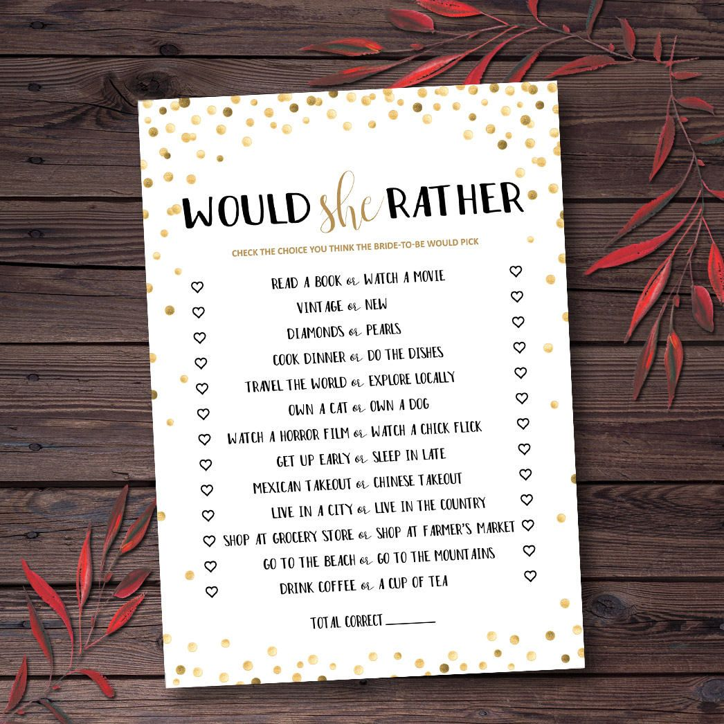 Would She Rather, Would She Rather Game, What Would Bride Do, Bridal Shower Games, Printable, Gold Confetti , Would Bride Rather Game mxv1