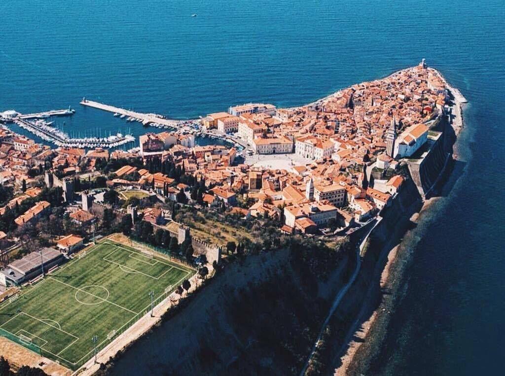 Beautiful seaside stadium in piran slovenia