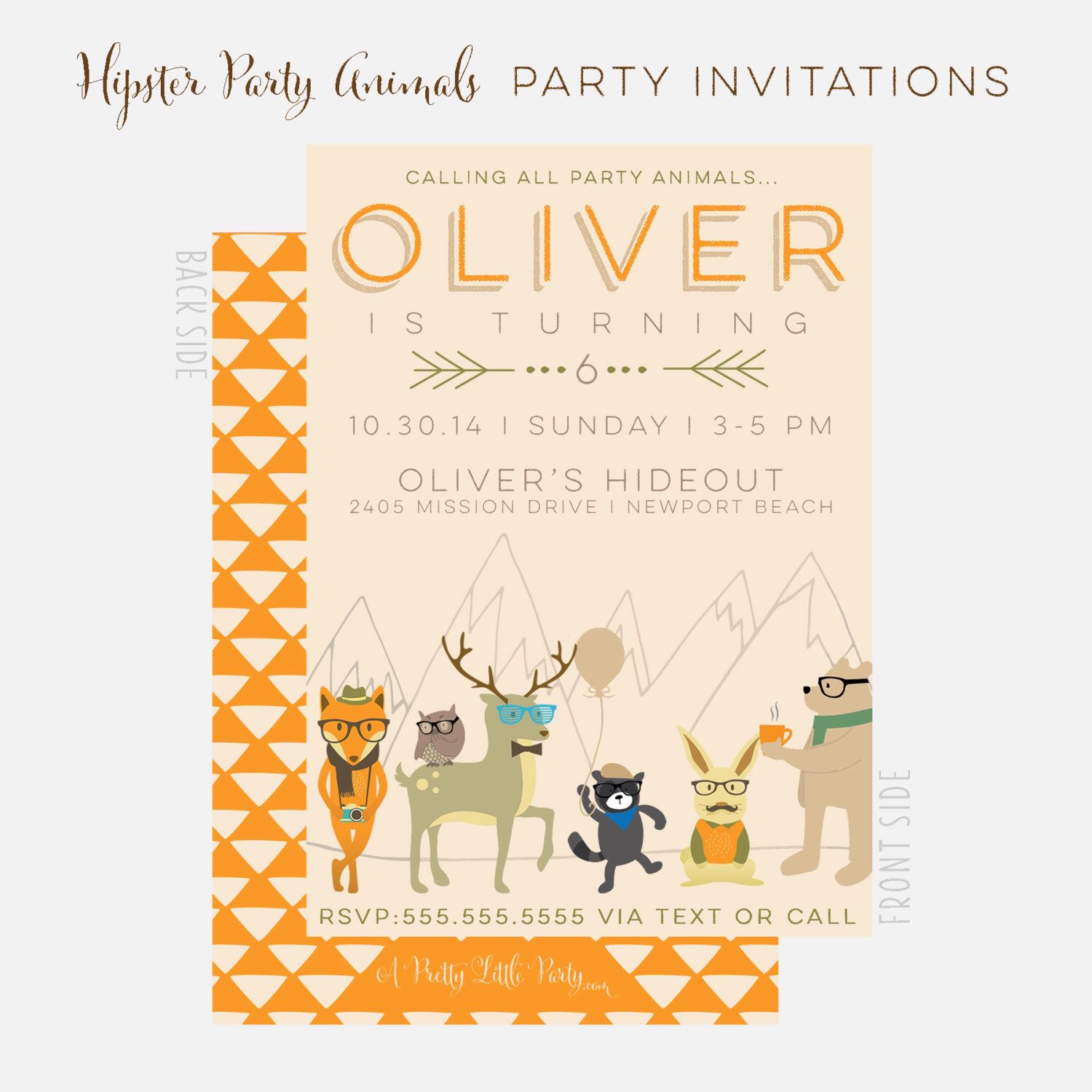 Hipster Party Animals Invitation Hipster Woodland Party
