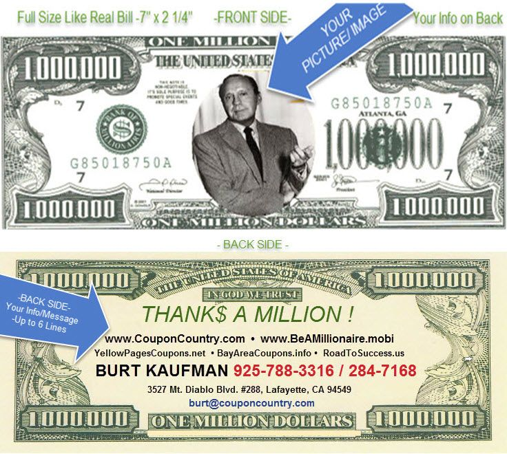 BE A MILLIONAIRE! YOUR OWN MILLION DOLLAR BILL \'BUSINESS CARD ...