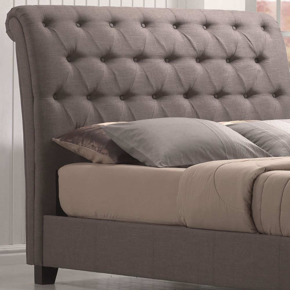 Innsbruck Upholstered Sleigh Bed by Emerald Home | Sleigh Fabric Upholstered Platform Bed