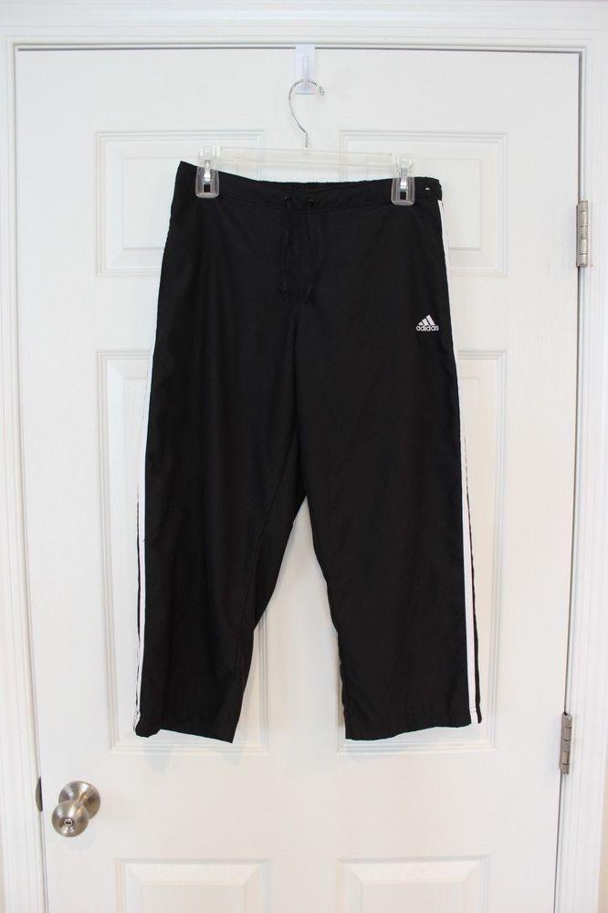 Adidas  mujer Athletic Sport capris Windbreaker poli negro blanco