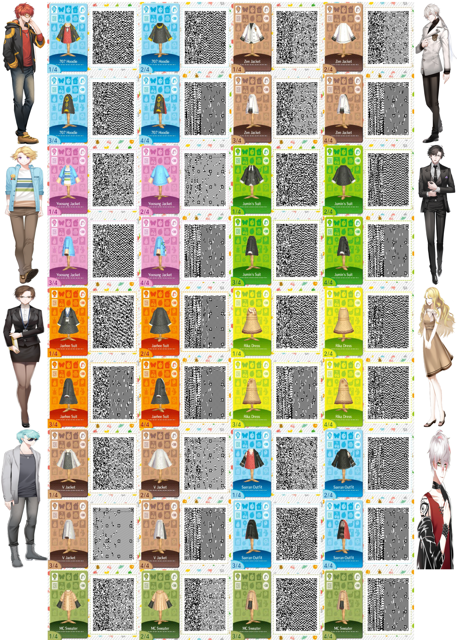 Mystic Messenger Character Outfit QR Codes