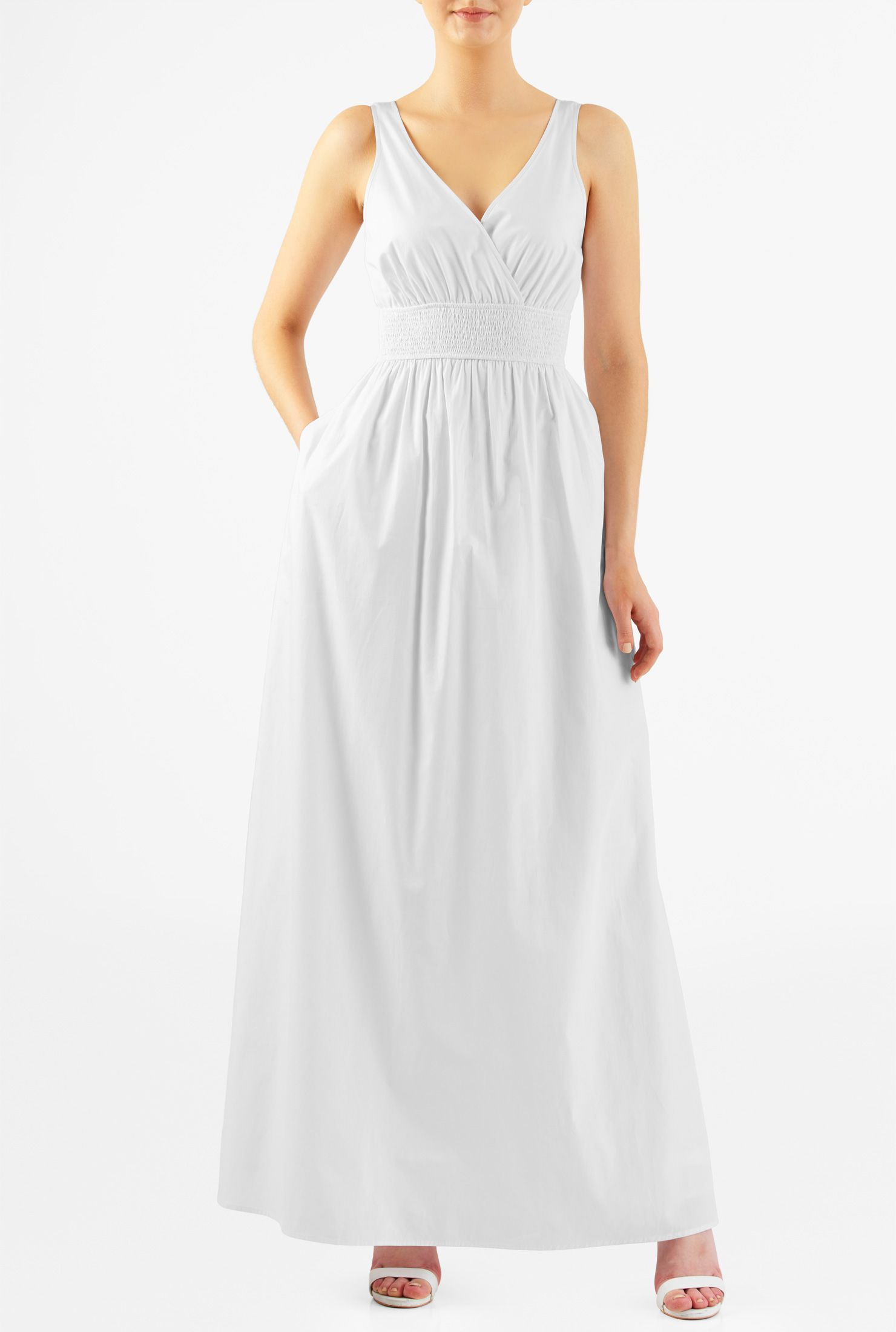 Plus Size Casual Summer Dresses Elastic Waist Cotton Maxi Dress In