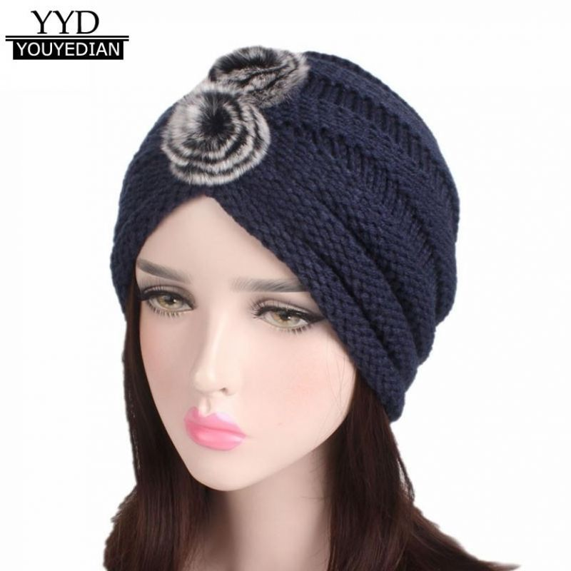 Winter beanies women ladies india muslim knitting hat female pompon turban  wrap brim hat cap women ladies  1106  acrylic 750c6b474cc