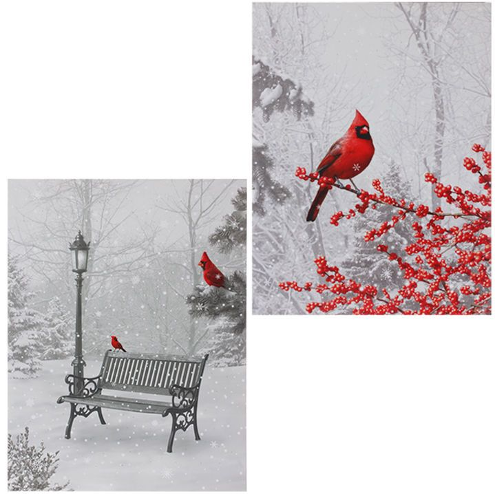 3511411 Raz 24x18 Cardinal Christmas Lighted Canvas Painting Picture Wall Art Lighted Canvas Painting Picture Wall