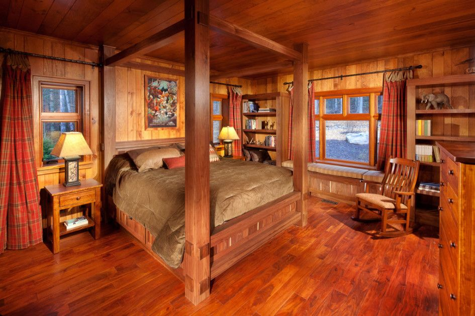 Tremendous Log Cabin Interiors Rustic With King Size Wood Canopy Bed Frame From Log Cabin