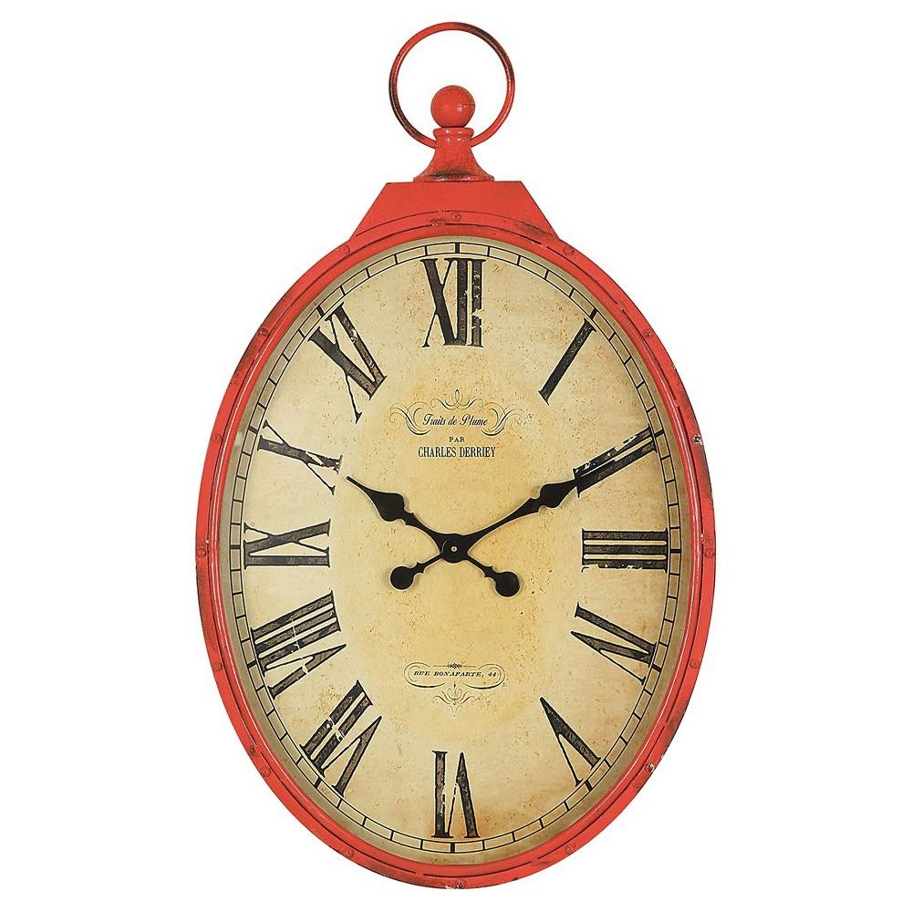 Metal Pocket Watch Wall Clock Orange - 3R Studios, Red Crackle