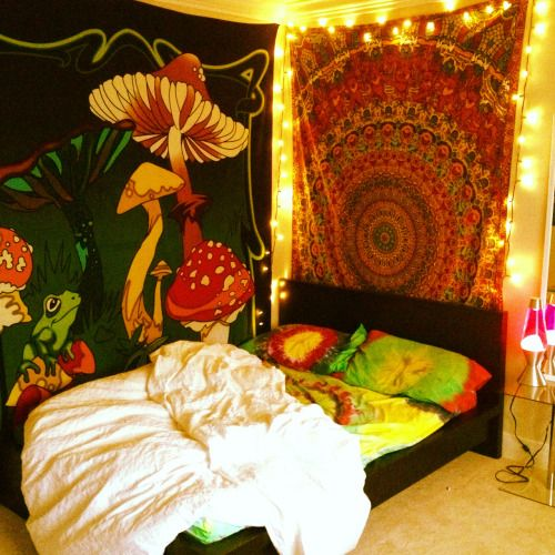 trippy hippie weed bedroom mushroom tapestry gratefuldead