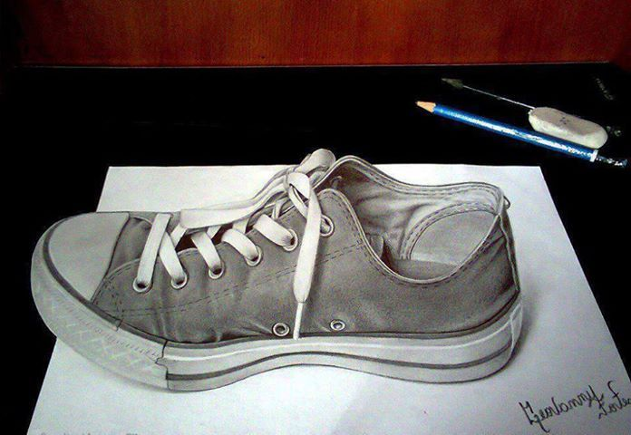 draw a shoe, then cut down the paper so that it extends from it to create the illusion