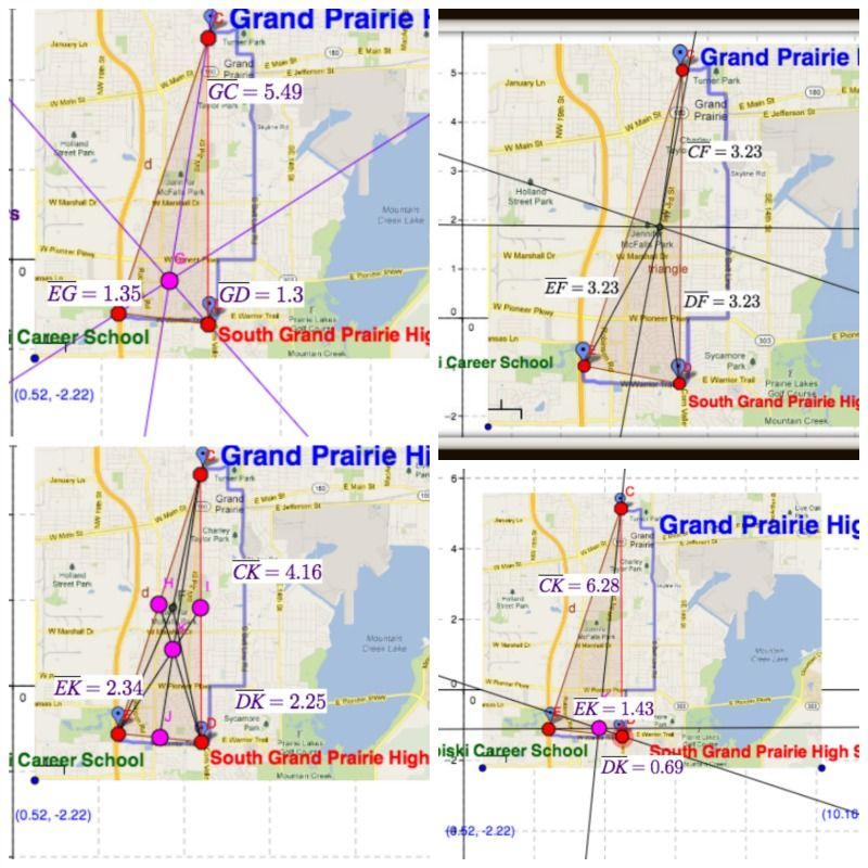 Google Maps And Coordinate Geometry 1st Set Of Locations Triangle