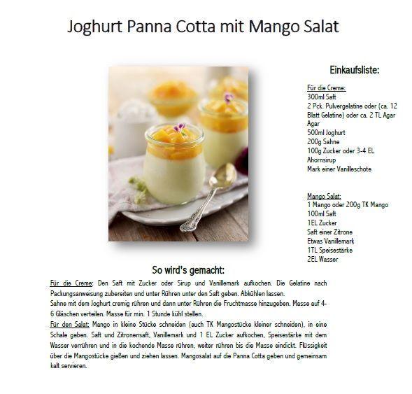 Joghurt Panna Cotta mit Mango Salat: Fruchtig und leicht (Werbung) | Das Knusperstübchen | Bloglovin'