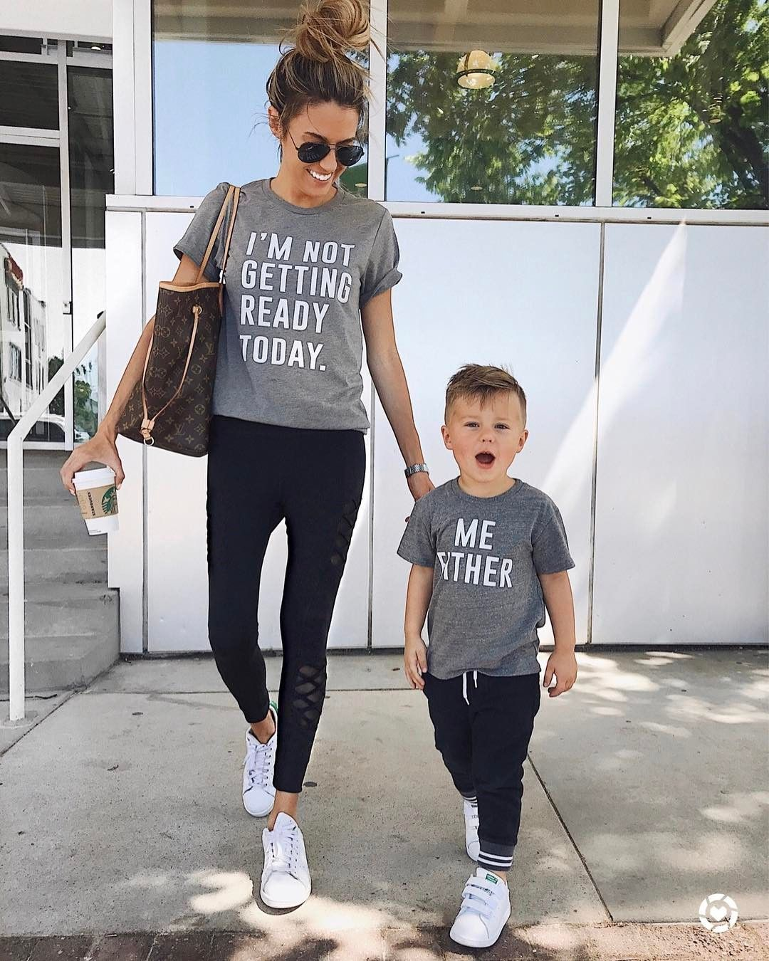 """7d2e59b9a2a Heading to Mother's Day breakfast with my mini. Because mom life = I'm  not…"""" happily // ✧ Family Shirts, Baby ..."""