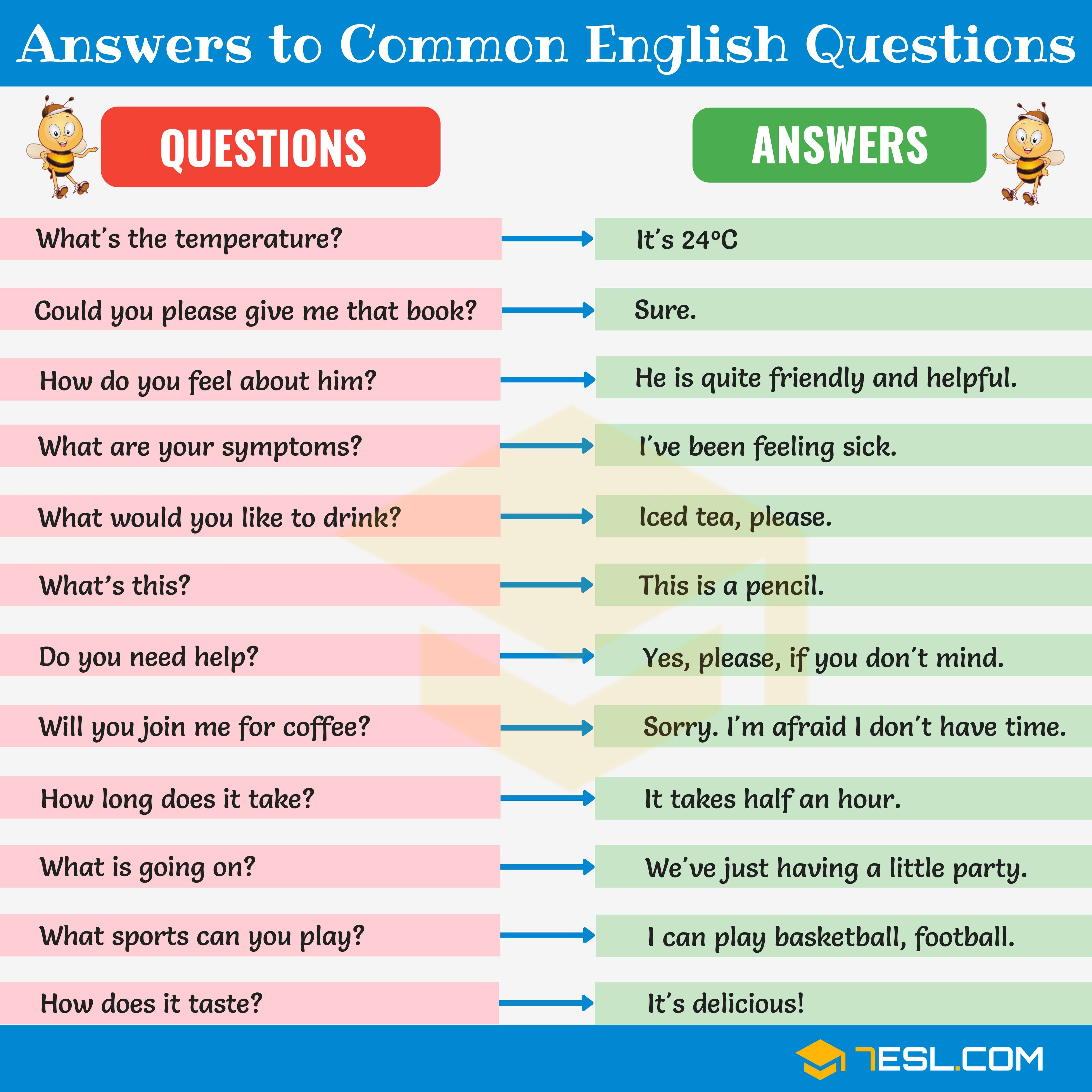 200+ Answers To Common English Questions | Learn english ...