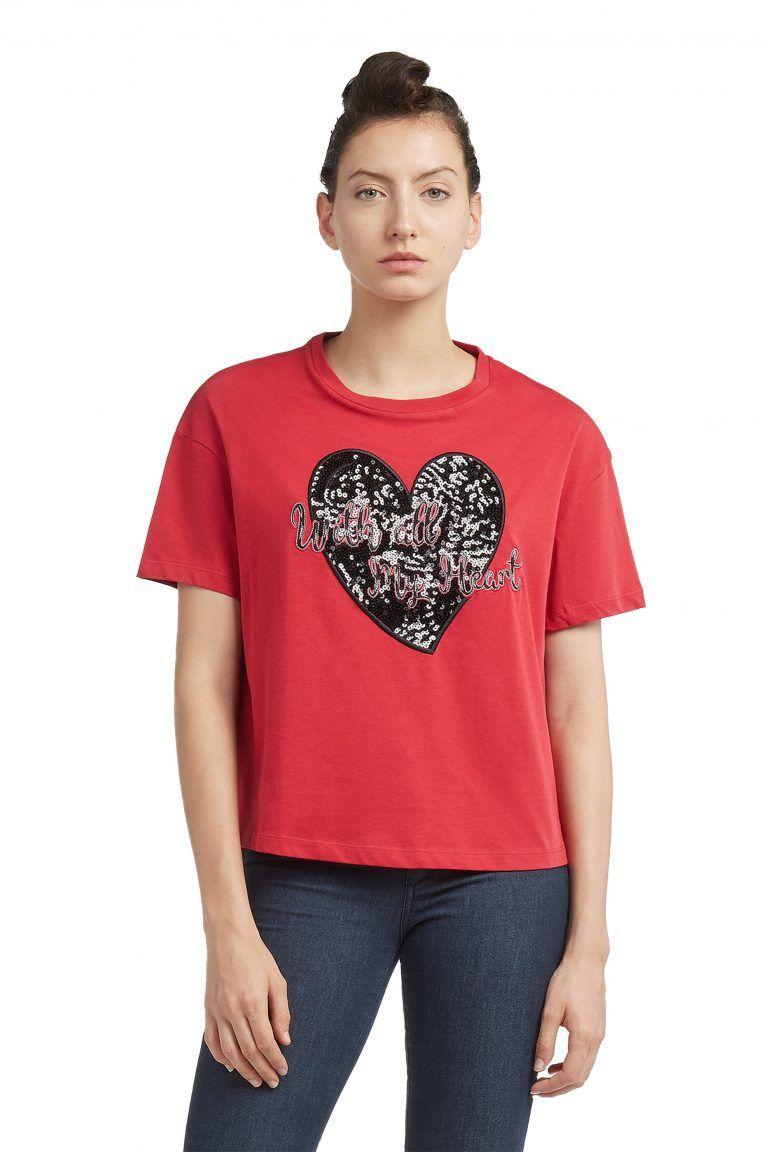 469e246fba48 Trussardi Jeans γυναικείο t-shirt με παγιέτα - 56T00121-1T001632 ...