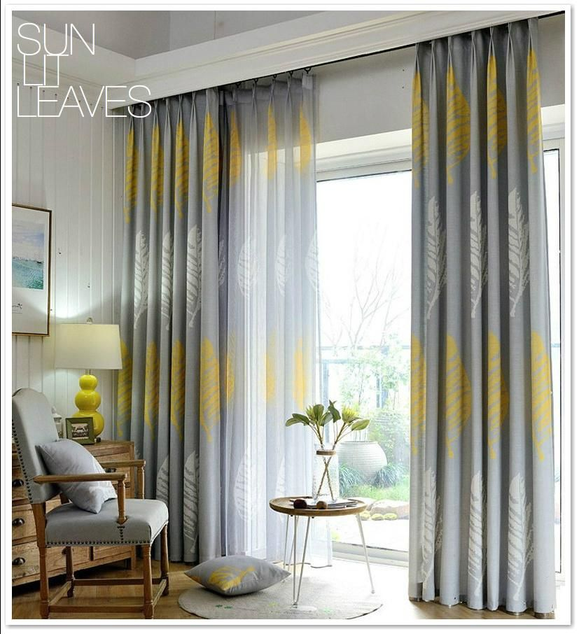 Yellow Grey Leaf Linen Sheer Blackout Curtain Set Free Shipping In 2021 Living Room Decor Curtains Curtains Living Room Living Room Windows