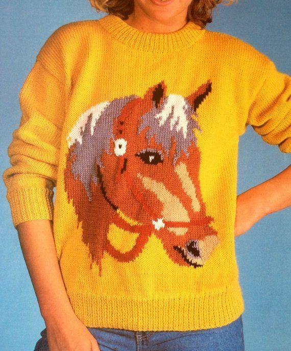 6d4da6432 horse sweater knitting pattern for children women men intarsia chart ...
