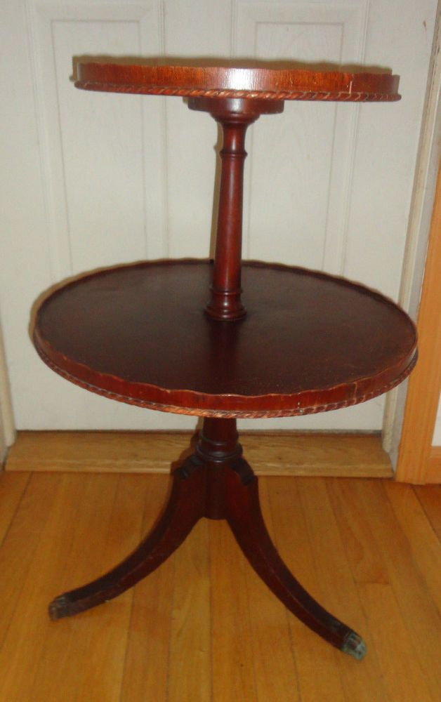Antique Wabash Indiana Cabinet Co  2 Tiered Round Wood Claw Leg Table 29  h. Antique Wabash Indiana Cabinet Co  2 Tiered Round Wood Claw Leg