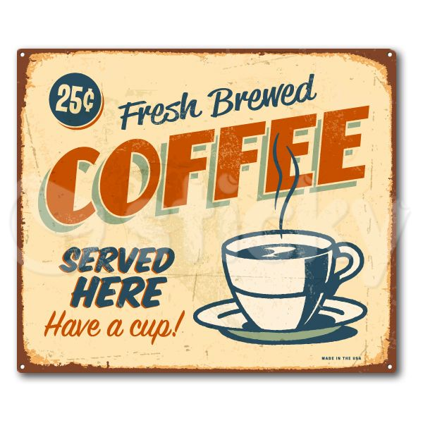 Canvas Print Retro Signs Coffee By Sticky Square