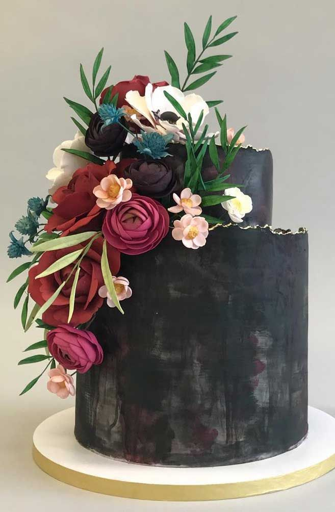 Two tier black Wedding Cake - The 50 Most Beautiful Wedding Cakes 50 pretty and unique wedding cakes, wedding cake ideas, wedding cake , black wedding cake, wedding cake ideas 2019, wedding cake ideas rustic, unique wedding cake designs, luxury wedding cake ideas, elegant wedding cake, modern wedding cake designs, wedding cake pictures gallery