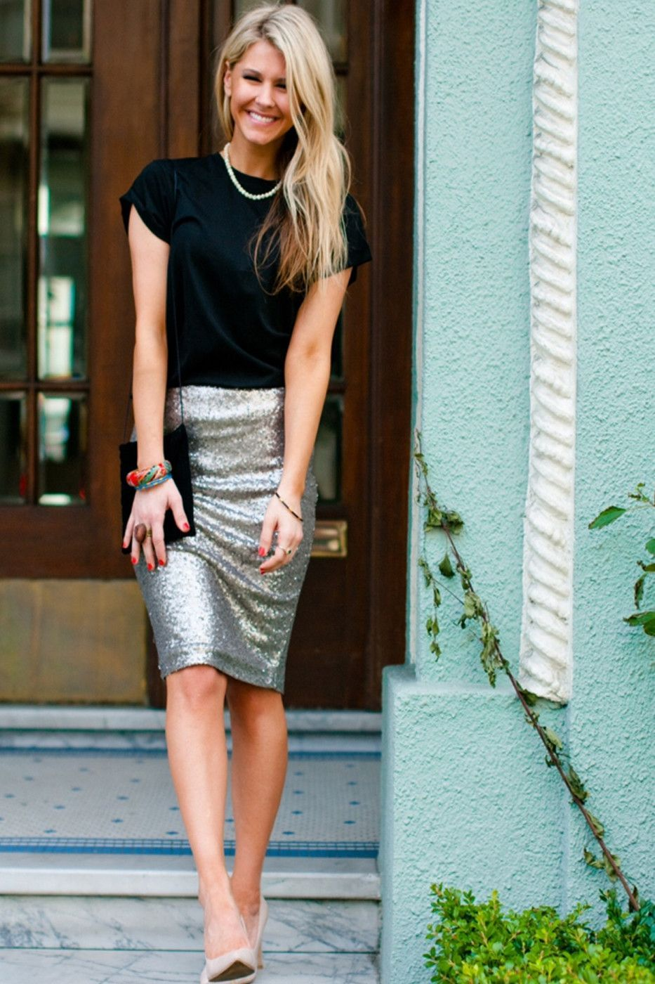 Marilyn Sequin Pencil Skirt | Sequin pencil skirt, Silver sequin and ...
